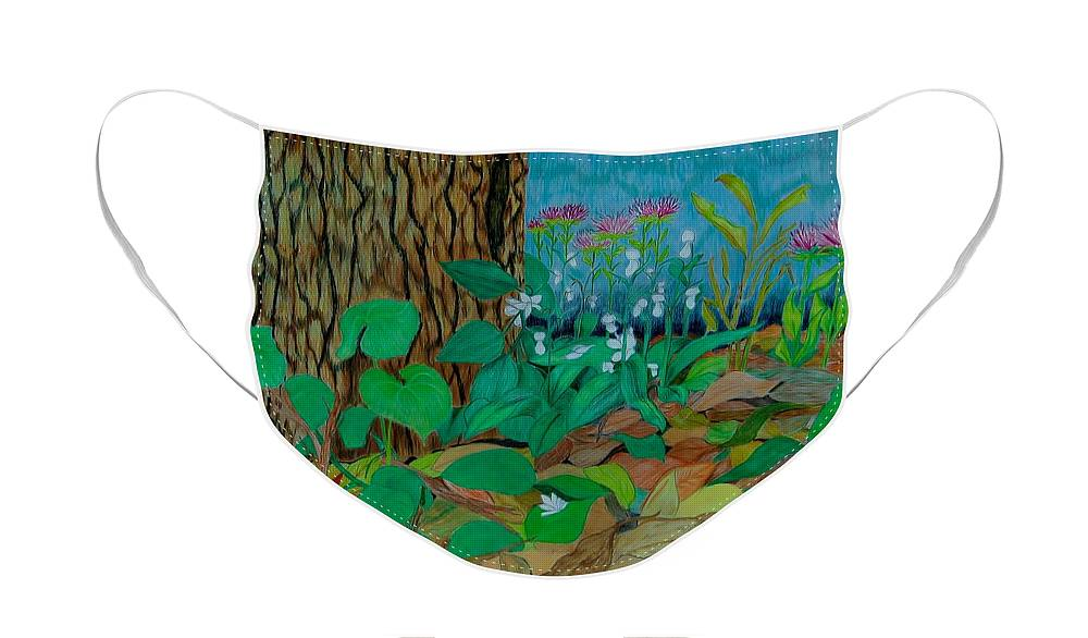 Tree Face Mask featuring the mixed media Six in hiding by Charla Van Vlack