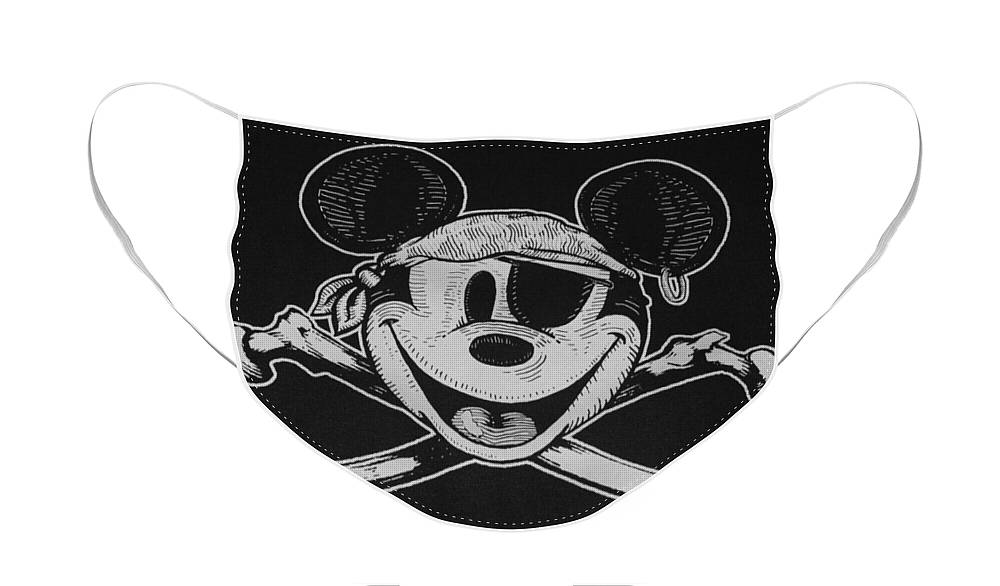 Walt Disney World Face Mask featuring the photograph Skull And Bones Mickey by Rob Hans