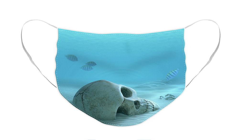 Skull Face Mask featuring the photograph Skull on sandy ocean bottom by Johan Swanepoel