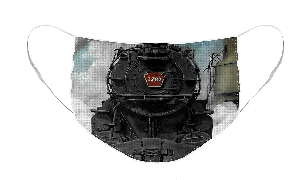 Trains Face Mask featuring the painting Smoke and Steam by David Mittner