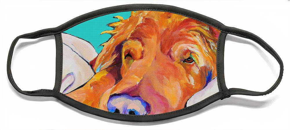 Dog Poortraits Face Mask featuring the painting Snoozer King by Pat Saunders-White
