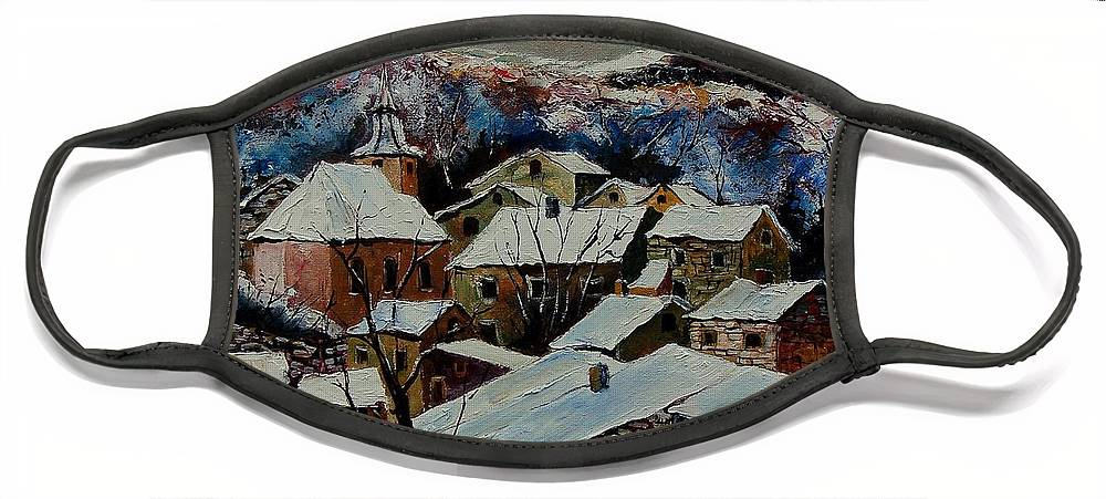 Winter Face Mask featuring the painting Snow in Laforet 78 by Pol Ledent