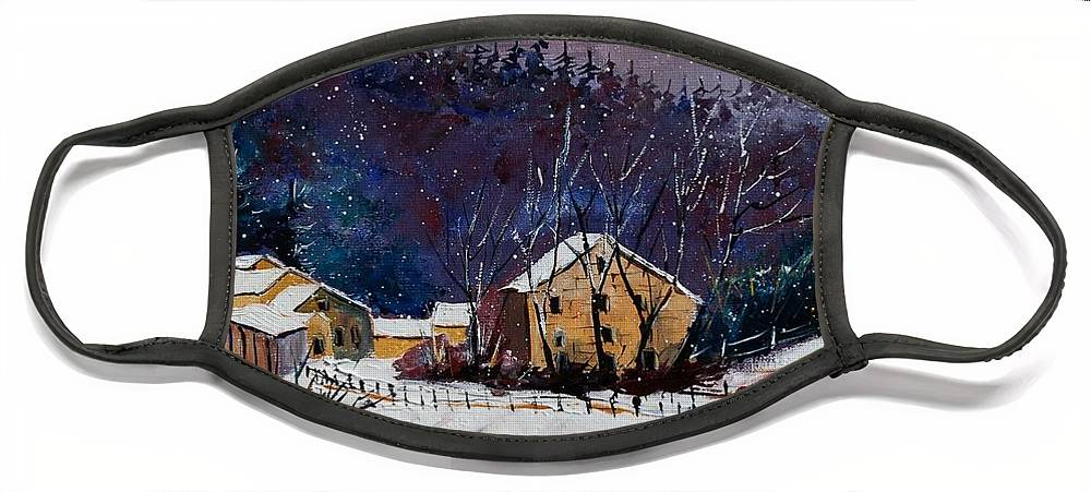 Landscape Face Mask featuring the painting Snow In Sechery by Pol Ledent