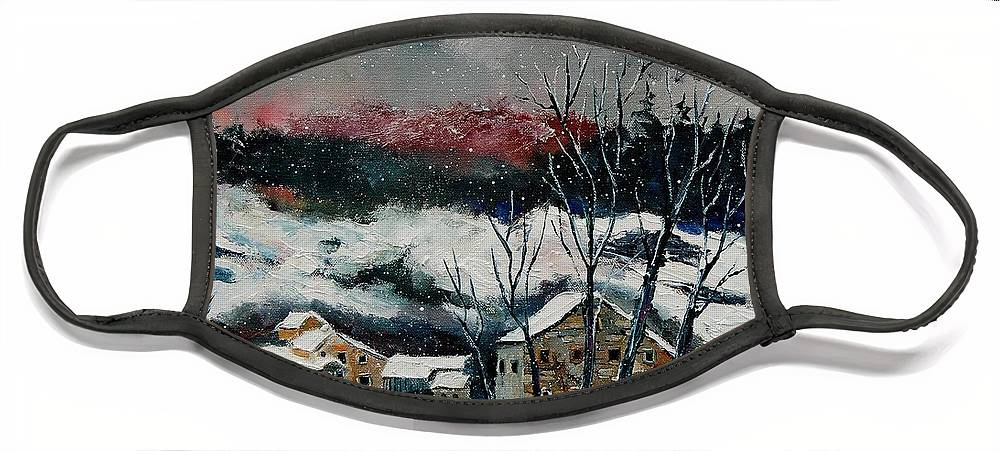 Winter Face Mask featuring the painting Snow in Sechery Redu by Pol Ledent