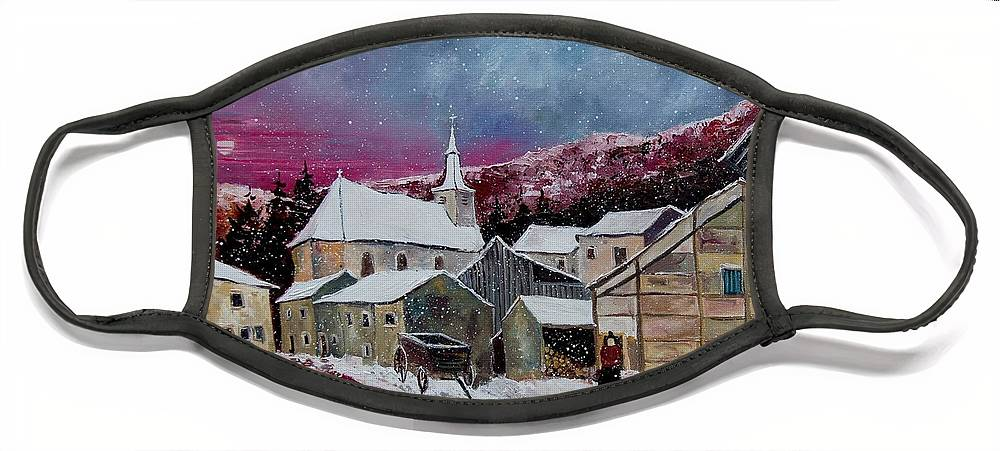 Snow Face Mask featuring the painting Snow Is Falling by Pol Ledent