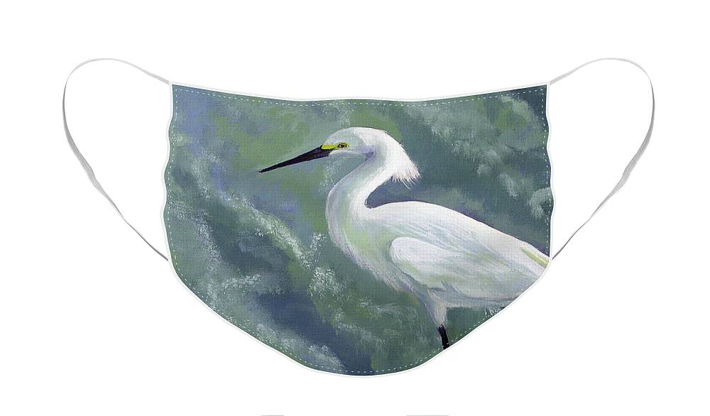 Egret Face Mask featuring the painting Snowy Egret in Water by Adam Johnson
