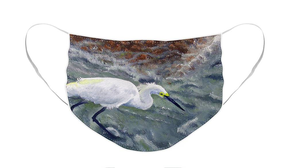 Egret Face Mask featuring the painting Snowy Egret Near Jetty Rock by Adam Johnson