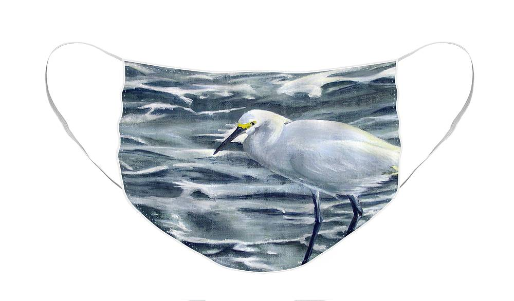 Egret Face Mask featuring the painting Snowy Egret on Jetty Rock by Adam Johnson