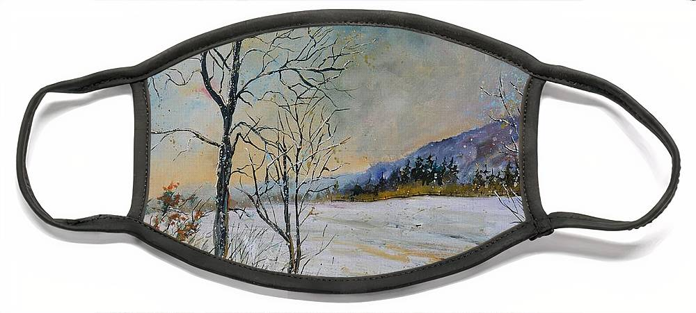 Landscape Face Mask featuring the painting Snowy landscape by Pol Ledent