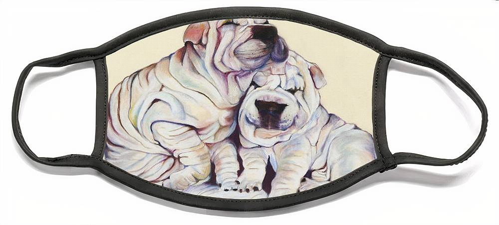 Dog Painting Face Mask featuring the pastel Snuggles by Pat Saunders-White