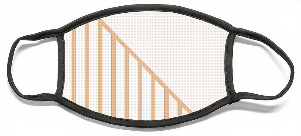 Pink Face Mask featuring the digital art Soft Blush and Coral Stripe Triangles by Linda Woods