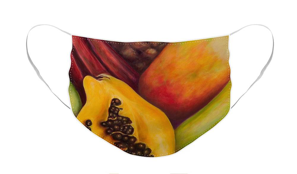 Tropical Fruit Still Life: Mangoes Face Mask featuring the painting Solo by Shannon Grissom