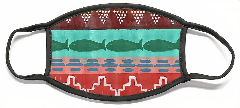 Southwest Face Mask featuring the mixed media Southwest with Fish- Art by Linda Woods by Linda Woods