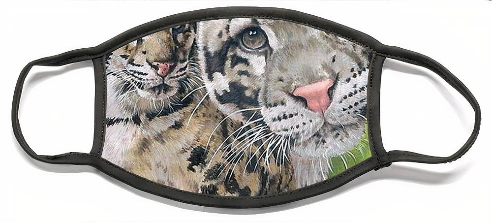 Clouded Leopard Face Mask featuring the mixed media Sovereignty by Barbara Keith