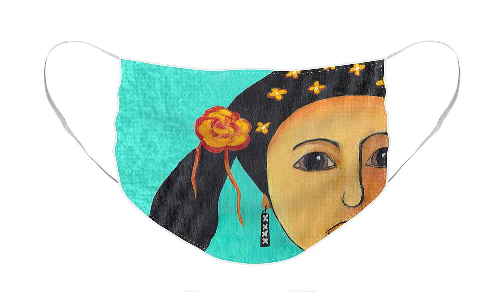 Girl Face Mask featuring the painting Spanish Girl by Patricia Cleasby