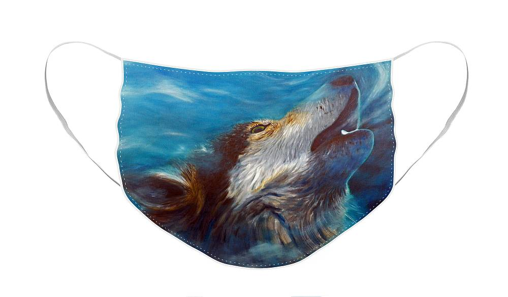 Wolf Face Mask featuring the painting Spirit Of The Wolf by Brian Commerford