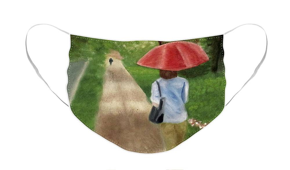 Landscape Face Mask featuring the painting Spring Series I by Patricia Cleasby
