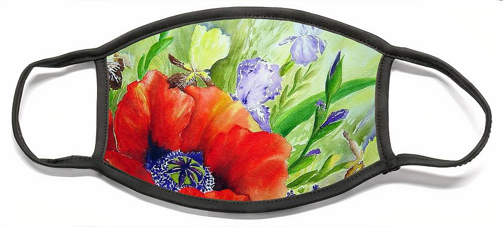 Poppy Iris Floral Painting Face Mask featuring the painting Spring Splendor by Joanne Smoley