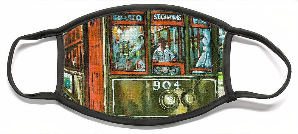 New Orleans Streetcar Face Mask featuring the painting St. Charles No. 904 by Dianne Parks