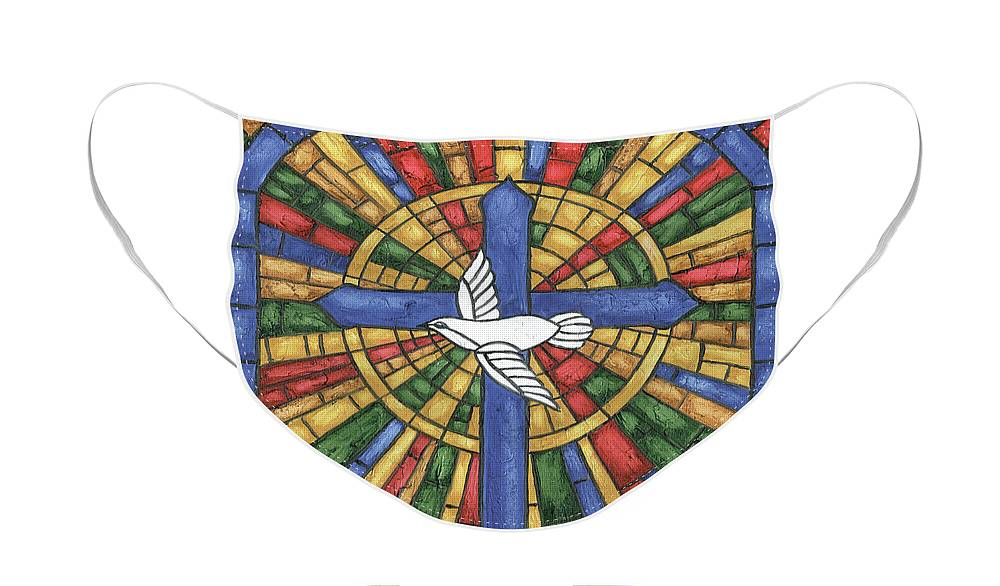 Dove Face Mask featuring the painting Stained Glass Cross by Debbie DeWitt