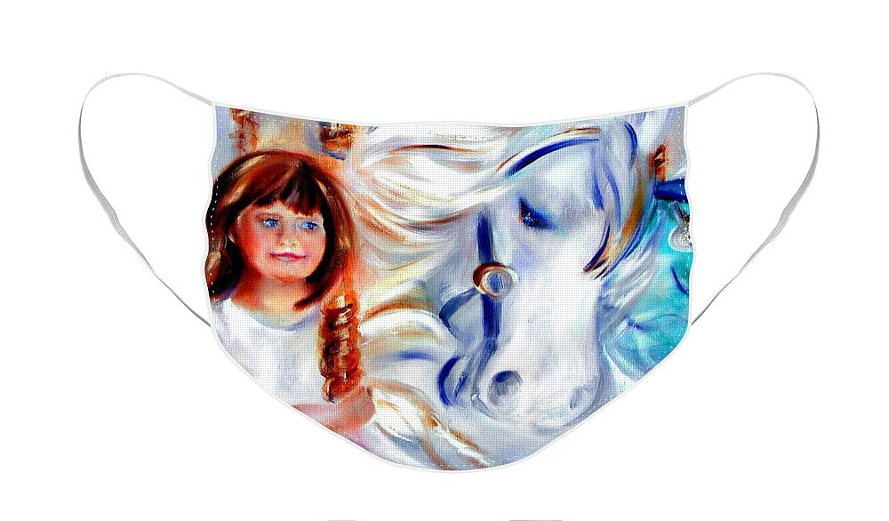 Carousel Face Mask featuring the painting Stars in Their Eyes by Sandy Ryan