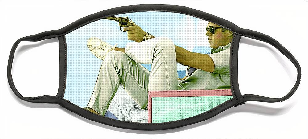 Steve Mcqueen Face Mask featuring the mixed media Steve McQueen, Colt revolver, Palm Springs, CA by Thomas Pollart