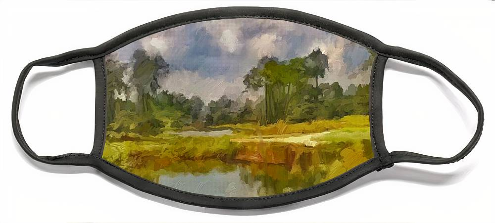 Florida Face Mask featuring the digital art Storm to the West by Scott Waters