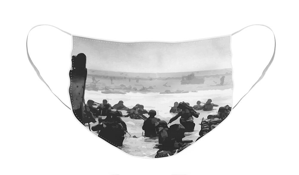 D Day Face Mask featuring the painting Storming The Beach On D-Day by War Is Hell Store