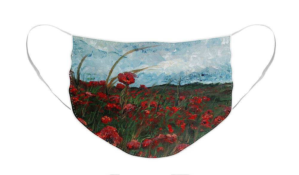 Poppies Face Mask featuring the painting Stormy Poppies by Nadine Rippelmeyer