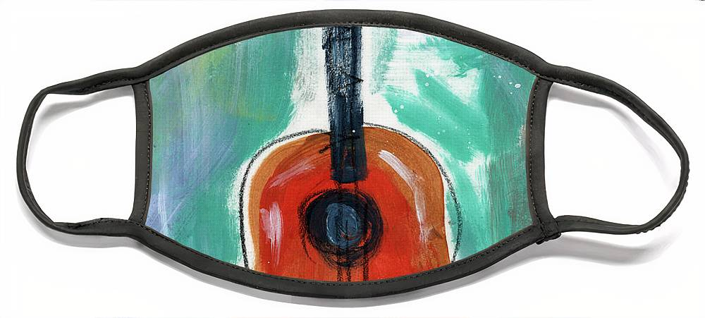 Guitar Face Mask featuring the painting Storyteller's Guitar by Linda Woods