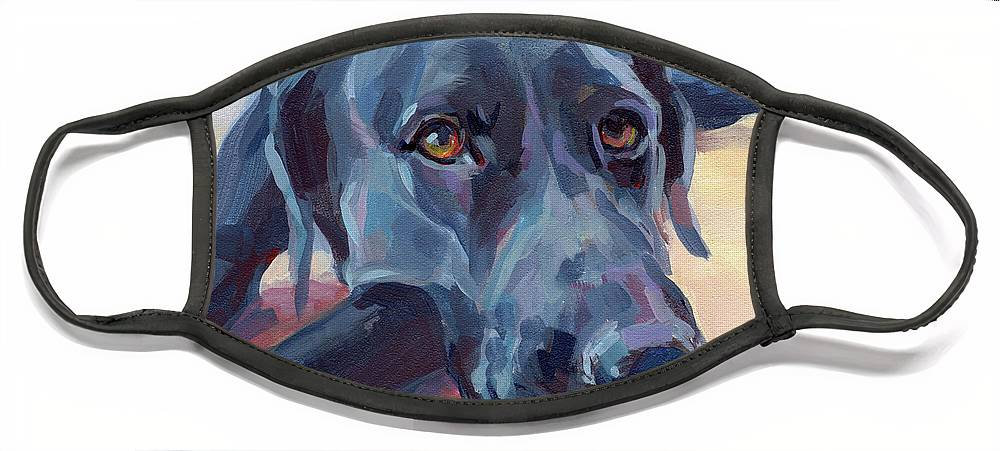 Black Lab Face Mask featuring the painting Stretched by Kimberly Santini