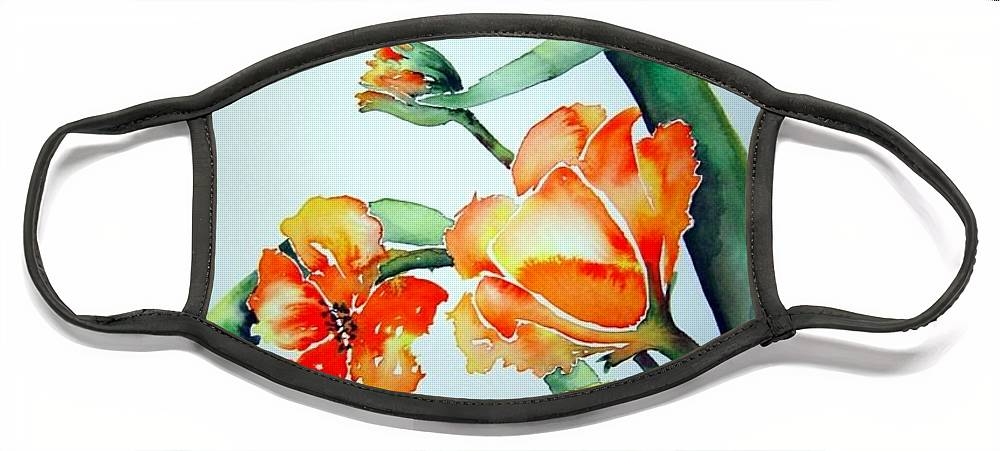 Tulips Or Poppies Face Mask featuring the painting Stretching in the Spring Sun by Jo Smoley
