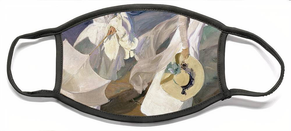 Sorolla Face Mask featuring the painting Strolling along the Seashore by Joaquin Sorolla y Bastida