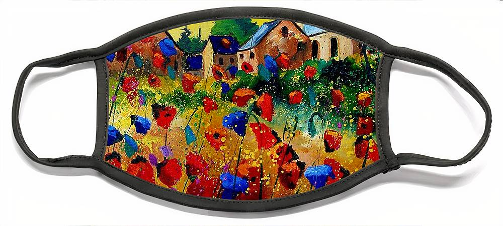 Poppy Face Mask featuring the painting Summer in Sosoye by Pol Ledent