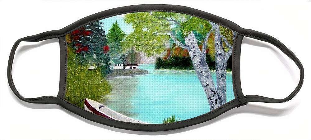Beautiful Bracebridge Ontario Oil Painting Face Mask featuring the painting Summer In The Muskoka's by Peggy Holcroft