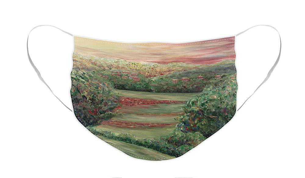 Landscape Face Mask featuring the painting Summer in Tuscany by Nadine Rippelmeyer