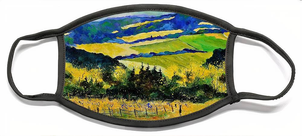 Landscape Face Mask featuring the painting Summer Landscape by Pol Ledent