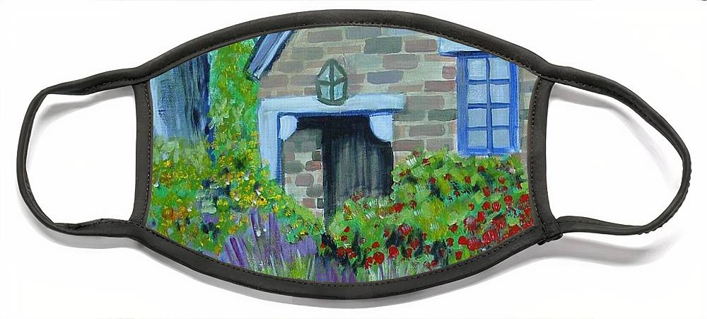 Cottage Face Mask featuring the painting Summer Retreat by Laurie Morgan