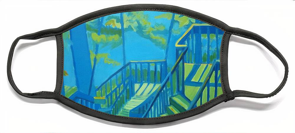 New Hampshire Face Mask featuring the painting Suncook Stairwell by Debra Bretton Robinson