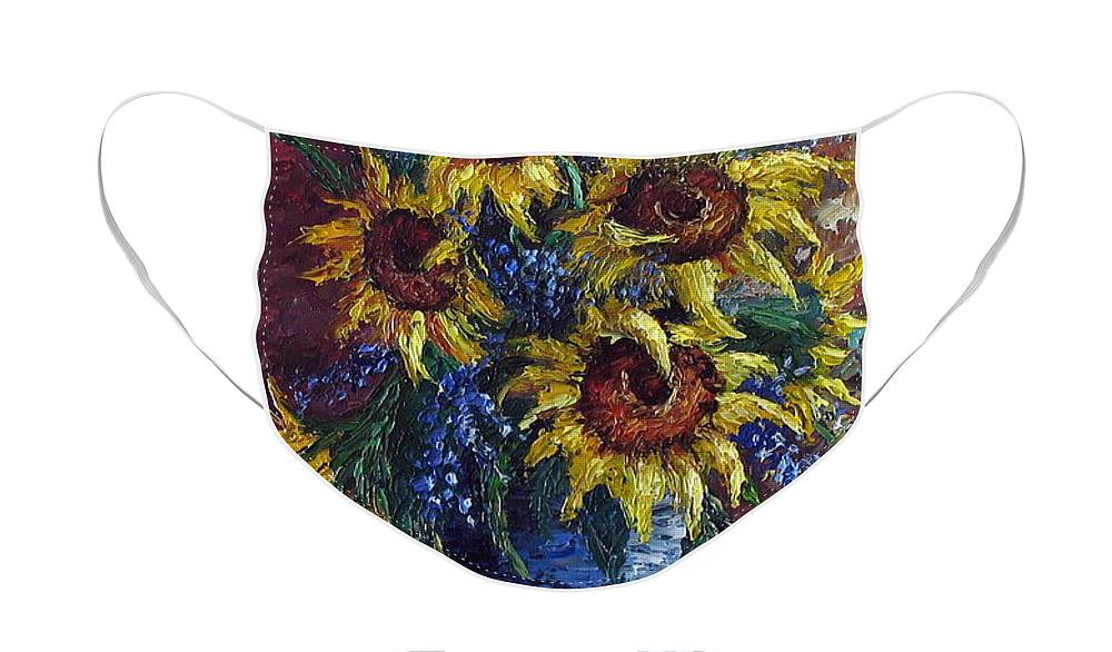 Flowers Face Mask featuring the painting Sunflower Bouquet by David G Paul
