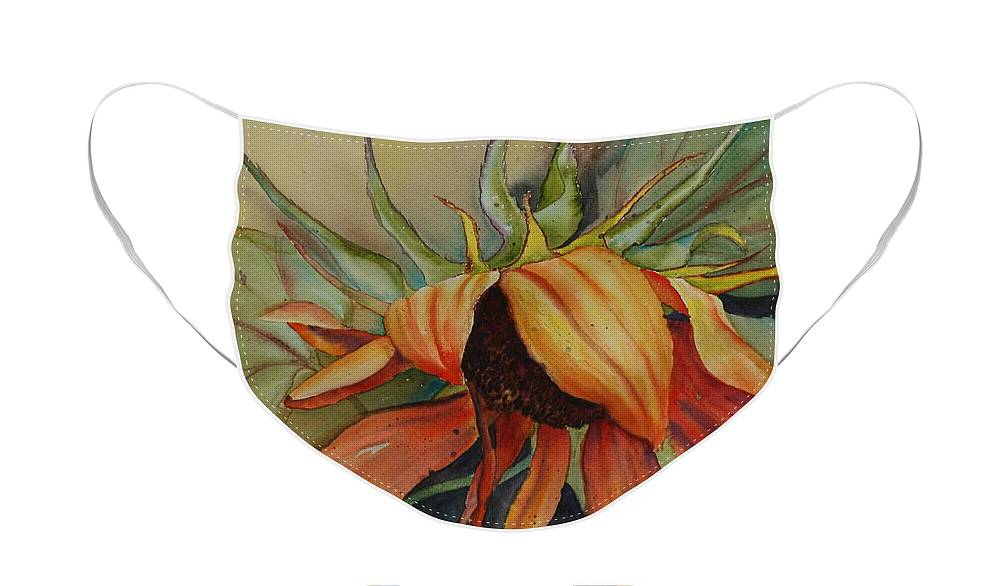 Sunflower Face Mask featuring the painting Sunflower by Ruth Kamenev
