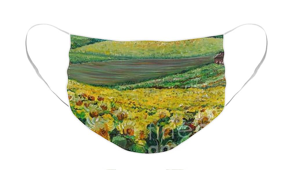 A Field Of Yellow Sunflowers Face Mask featuring the painting Sunflowers In Provence by Nadine Rippelmeyer