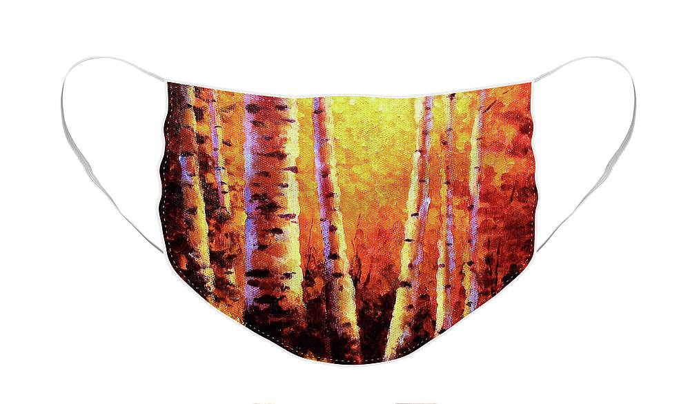 Sunlight Face Mask featuring the painting Sunlight Through The Aspens by David G Paul