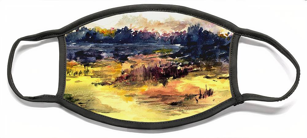 Landscape Water Color Sky Sunrise Water Watercolor Digital Mixed Media Face Mask featuring the painting Sunrise by Anil Nene