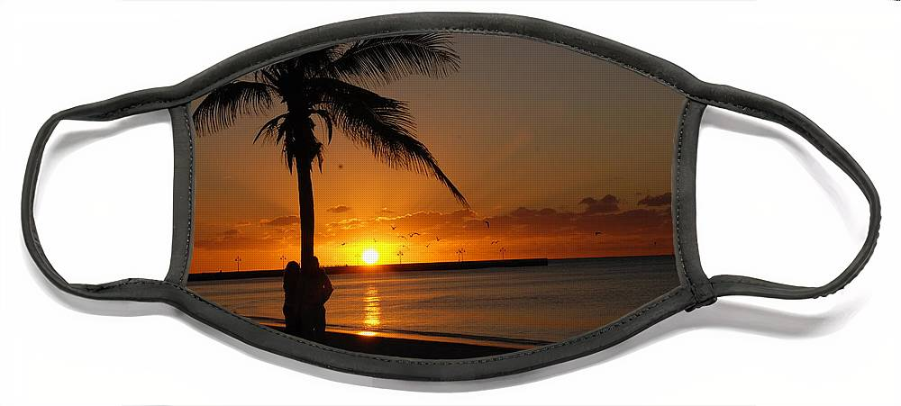 Sunrise Photos In Key West Fl Face Mask featuring the photograph Sunrise in Key West FL by Susanne Van Hulst