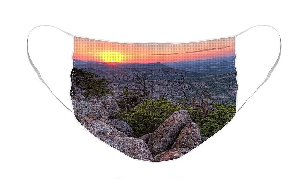 Landscape Face Mask featuring the photograph Sunrise in Mount Scott by Iris Greenwell