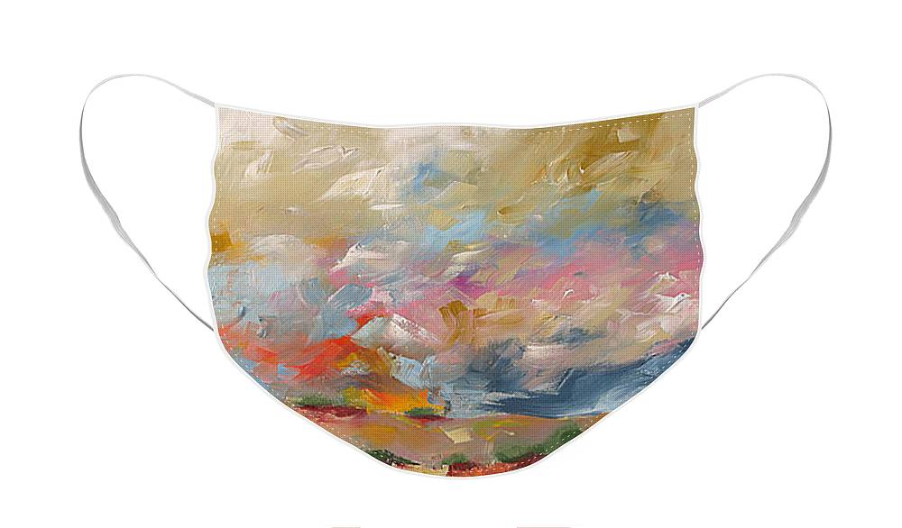 Painting Face Mask featuring the painting Sunrise In Paradise by Linda Monfort