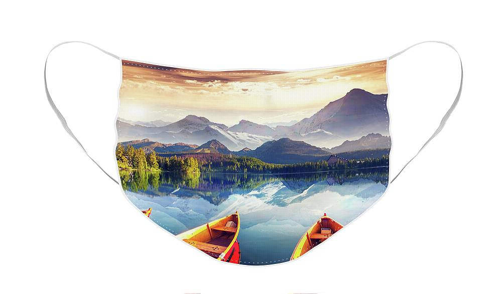 Alp Face Mask featuring the photograph Sunrise over Australian Lake by Stephan Grixti