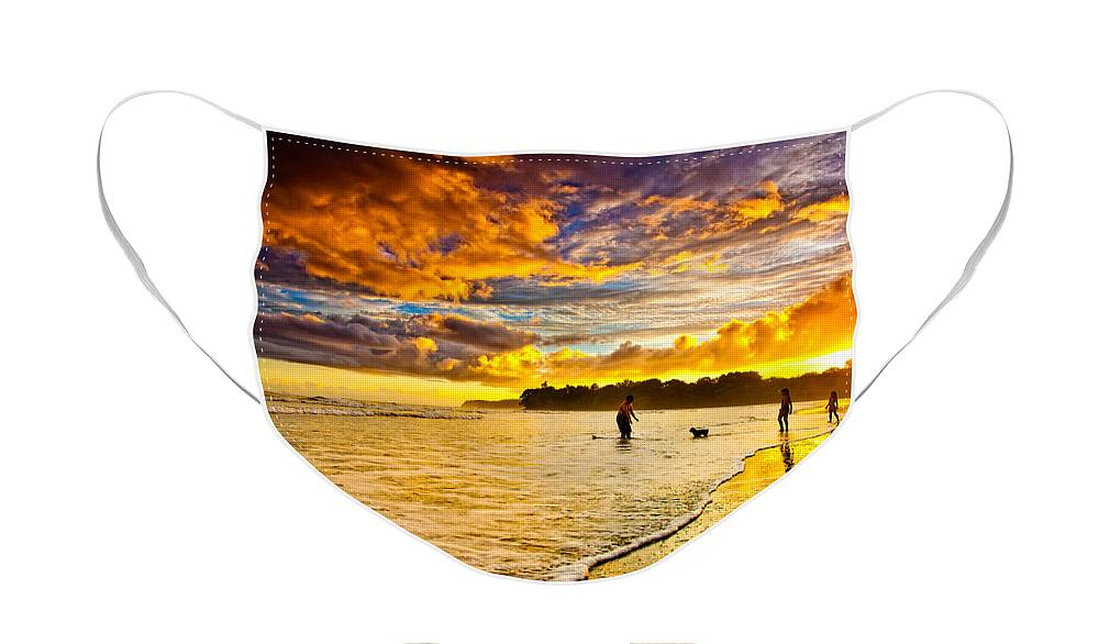 Landscape Face Mask featuring the photograph Sunset at the Coast by Iris Greenwell