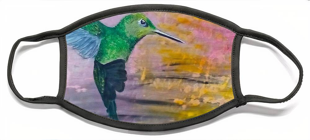 Hummingbird Face Mask featuring the painting Sunset Dancer by J Bauer
